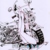 Dessin à l'encre : Pin-up & moto