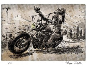 Philippe Gürel. Biker in ze wind