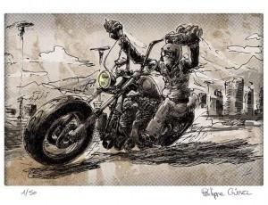 Philippe Gürel. Biker in ze wind