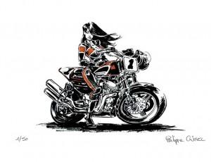 Philippe Gürel. Pin-up Harley 1200