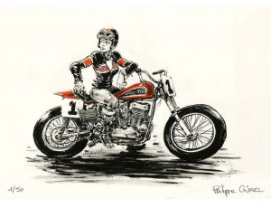 Philippe Gürel. Pin-up Harley XR750